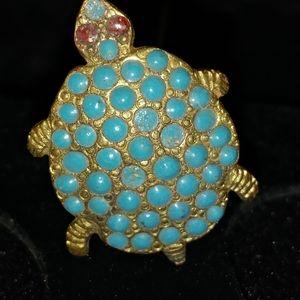 Vintage Turquoise Enamel Turtle Hat Pin